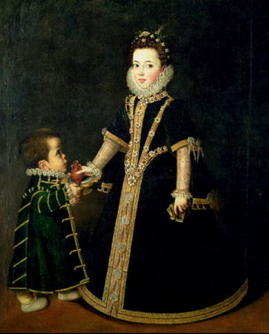 Portrait of Margaret of Savoy with Dwarf (1595)
