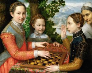 The Chess Game (1555) Museum Narodow Poznan, Poland. By 1600, Chess Game is at the Roman estate of Fulvio Orsini. Cat. 43